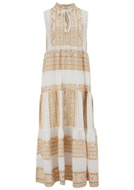 KORI Long Embroidered Sleeveless Cotton Dress - White & Gold