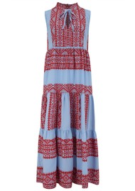 KORI Long Embroidered Sleeveless Cotton Dress - Blue & Red