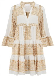 KORI 3/4 Length Sleeve Embroidered Cotton Dress - White & Gold