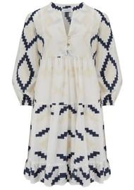KORI Short Embroidered Cotton Dress - White & Blue
