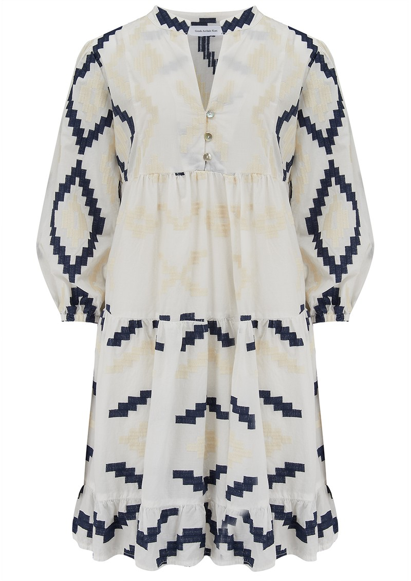 Short Embroidered Cotton Dress - White & Blue main image