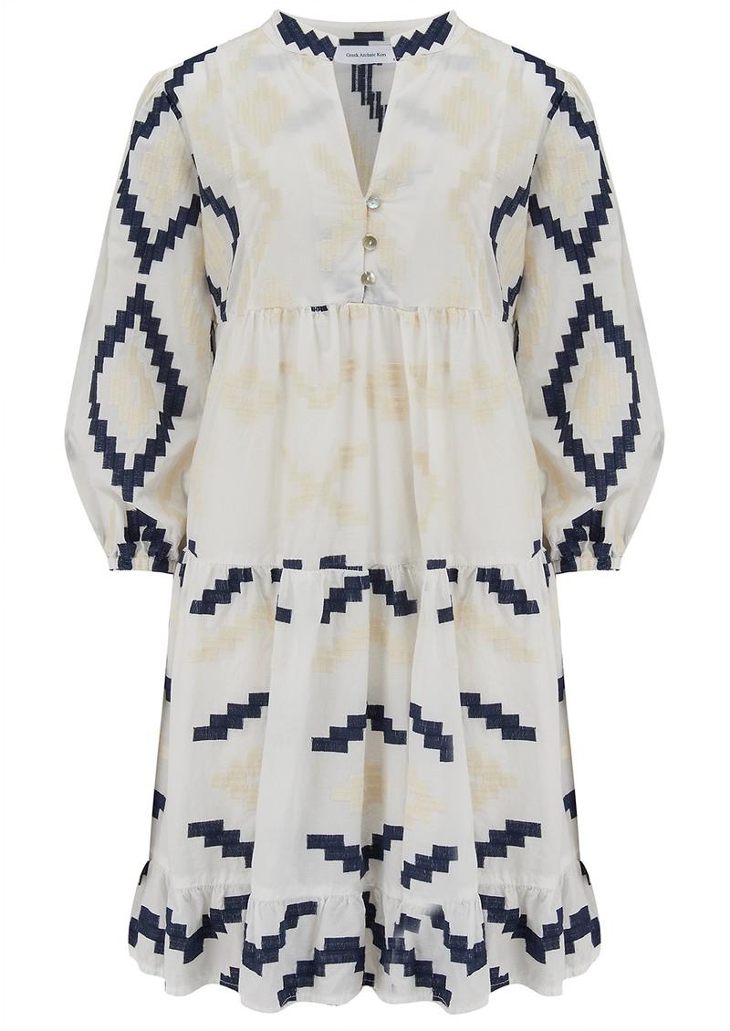 KORI Short Embroidered Cotton Dress - White & Blue main image