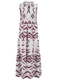 KORI Long Embroidered Sleeveless Cotton Dress - White, Bordeaux & Aubergine