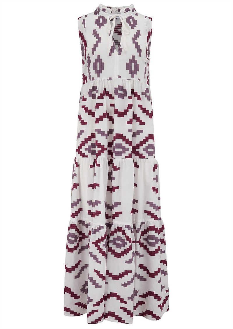 KORI Long Embroidered Sleeveless Cotton Dress - White, Bordeaux & Aubergine main image