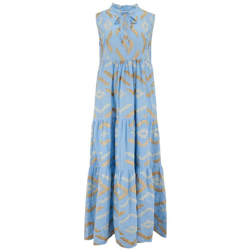 Long Embroidered Sleeveless Cotton Dress - Blue & Gold