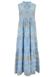 KORI Long Embroidered Sleeveless Cotton Dress - Blue & Gold
