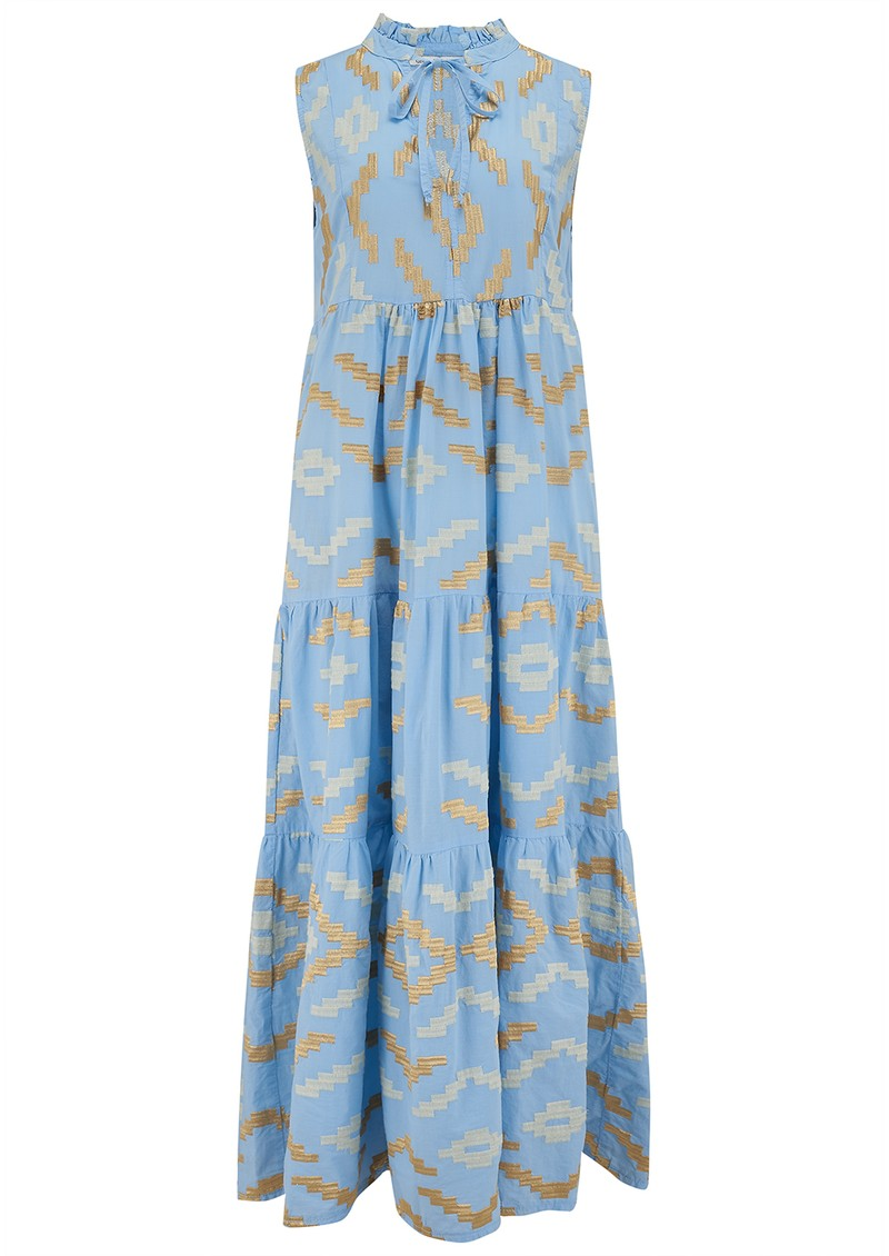 KORI Long Embroidered Sleeveless Cotton Dress - Blue & Gold main image