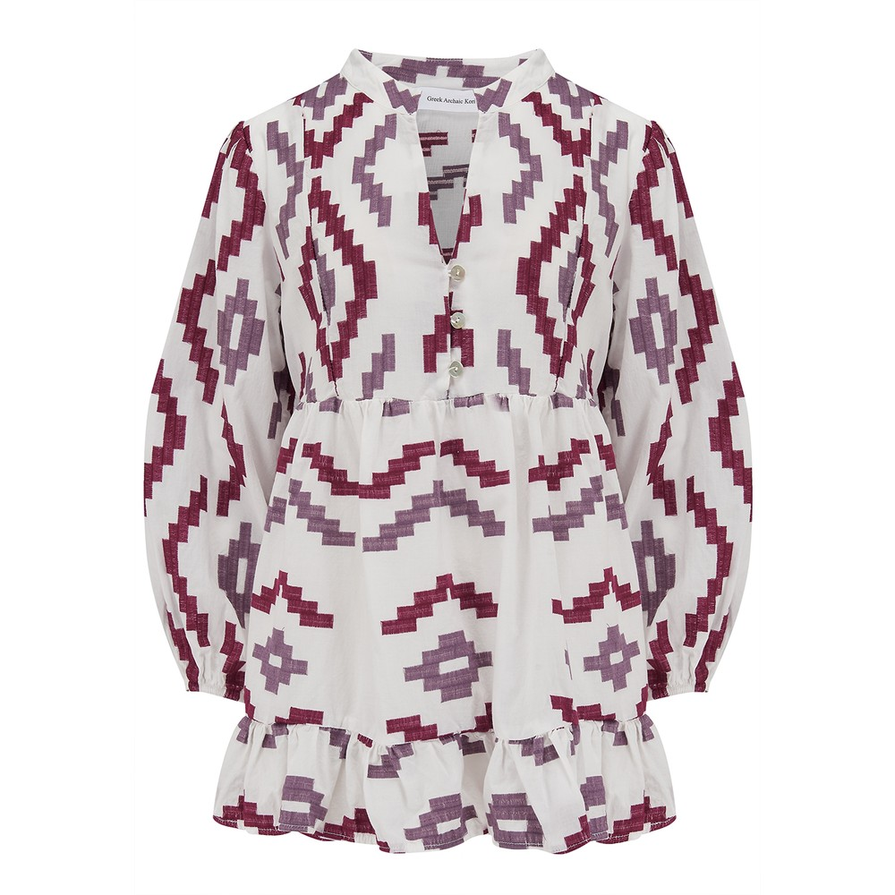 3/4 Sleeve Embroidered Cotton Top - White, Bordeaux & Aubergine