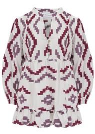 KORI 3/4 Sleeve Embroidered Cotton Top - White, Bordeaux & Aubergine