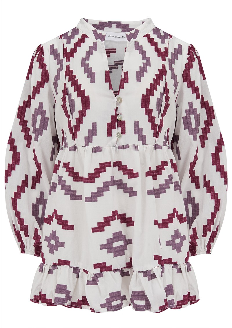 KORI 3/4 Sleeve Embroidered Cotton Top - White, Bordeaux & Aubergine main image