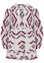 3/4 Sleeve Embroidered Cotton Top - White, Bordeaux & Aubergine additional image