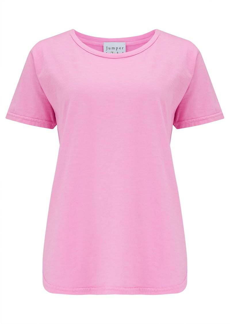 JUMPER 1234 Short Sleeve Crew Slub T-Shirt - Neon Pink main image