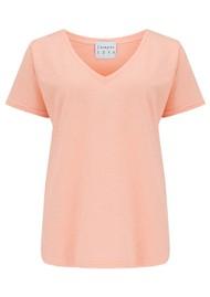 JUMPER 1234 Short Sleeve Vee Slub T-Shirt - Neon Orange