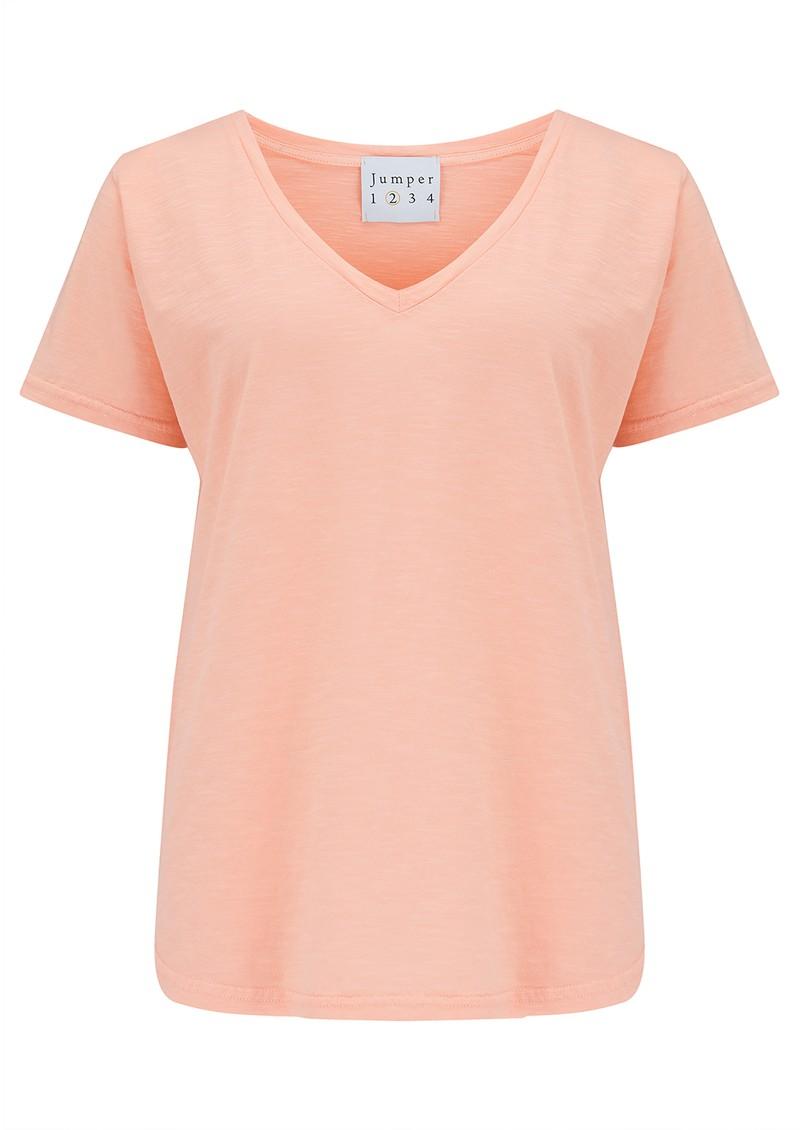JUMPER 1234 Short Sleeve Vee Slub T-Shirt - Neon Orange main image