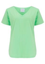 JUMPER 1234 Short Sleeve Vee Slub T-Shirt - Neon Green