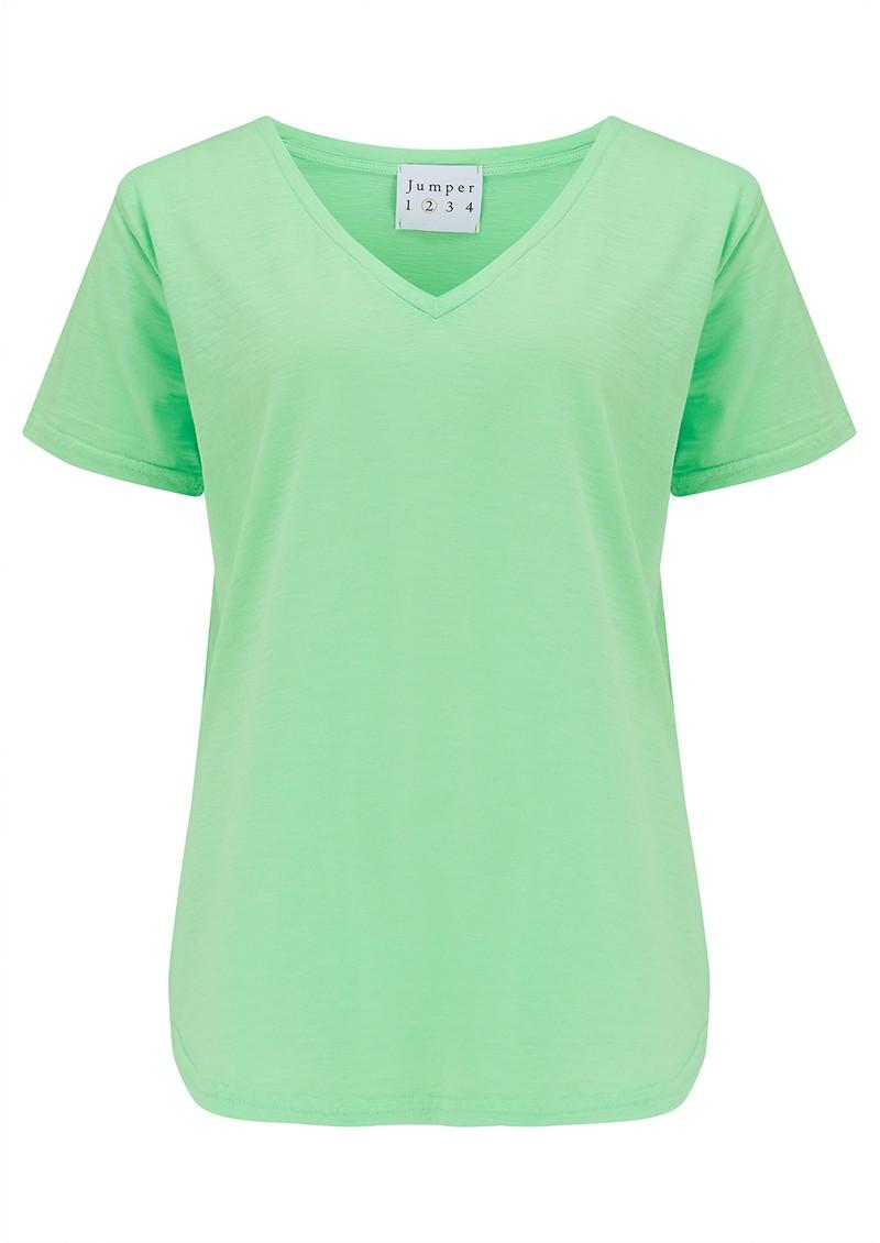 JUMPER 1234 Short Sleeve Vee Slub T-Shirt - Neon Green main image