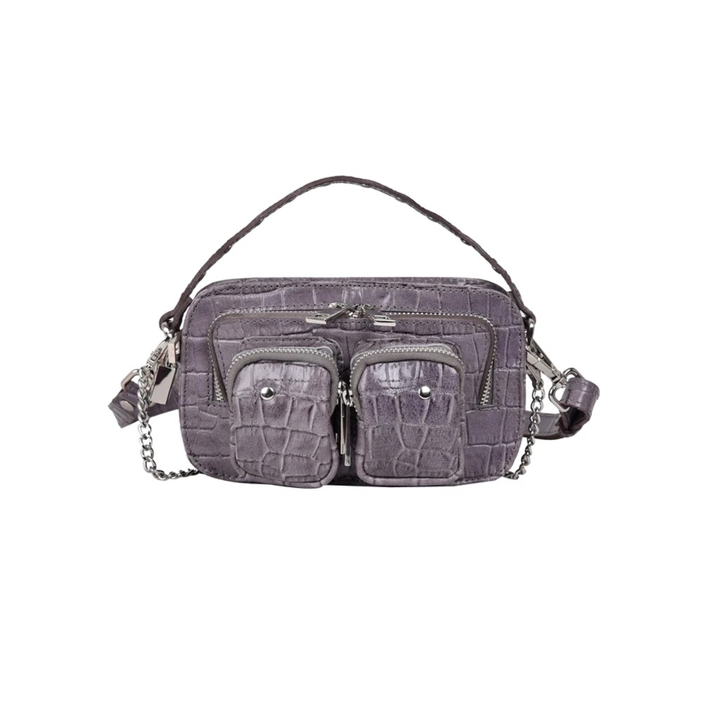 Helena Croco Small Leather Bag - Dark Grey