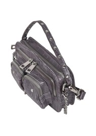 NUNOO Helena Croco Small Leather Bag - Dark Grey