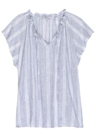 Rails Raven Linen Mix Top - Alameda Stripe
