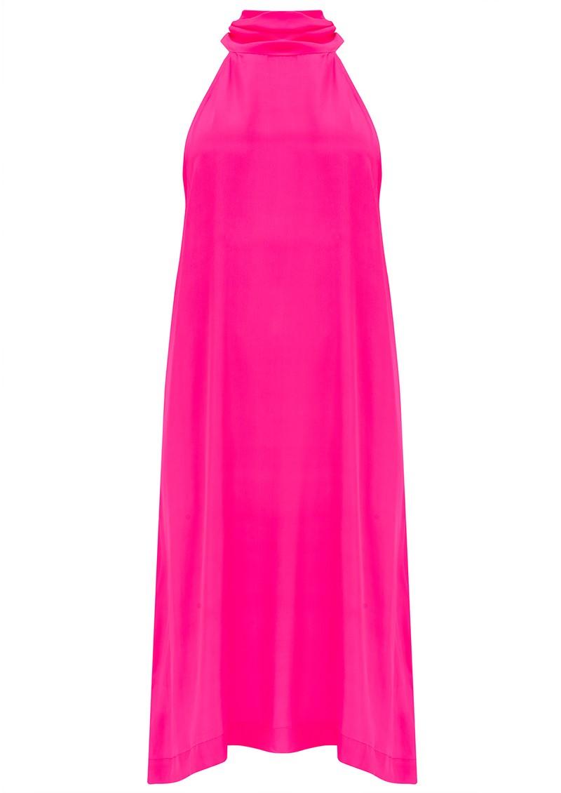 Mercy Delta Bradley Halter Neck Silk Dress - Neon Pink main image