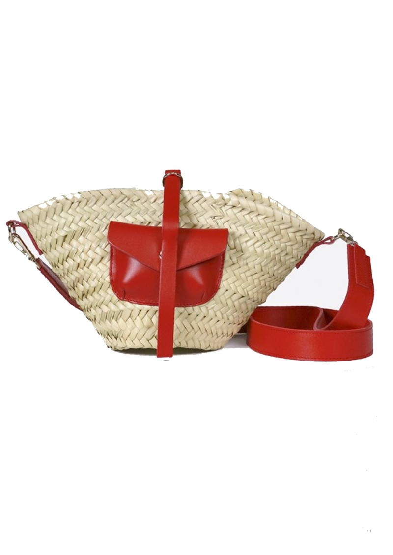 CRAIE Petit Panier Straw Bag - Kiss main image