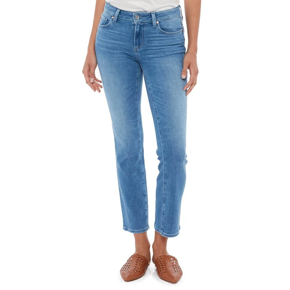 Amber Mid Rise Straight Leg Jeans - Sea Water Distressed
