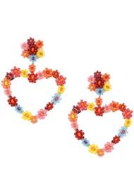 MISHKY Sublime Heart Beaded Earrings - Red & Orange
