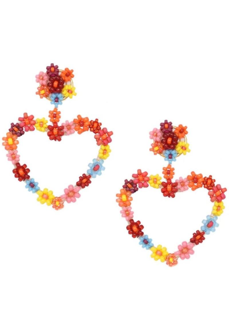 MISHKY Sublime Heart Beaded Earrings - Red & Orange main image