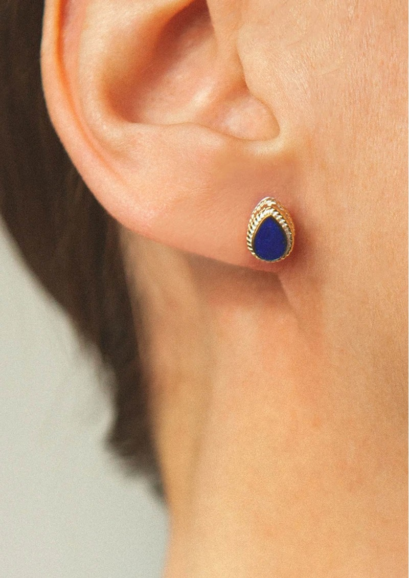 Lapis Teardrop Stud Earrings - Gold main image