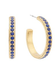 ANNA BECK Lapis Medium Pave Hoop Earrings - Gold
