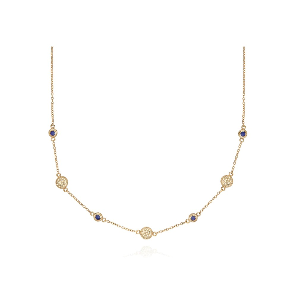 Lapis Station Collar Necklace - Gold