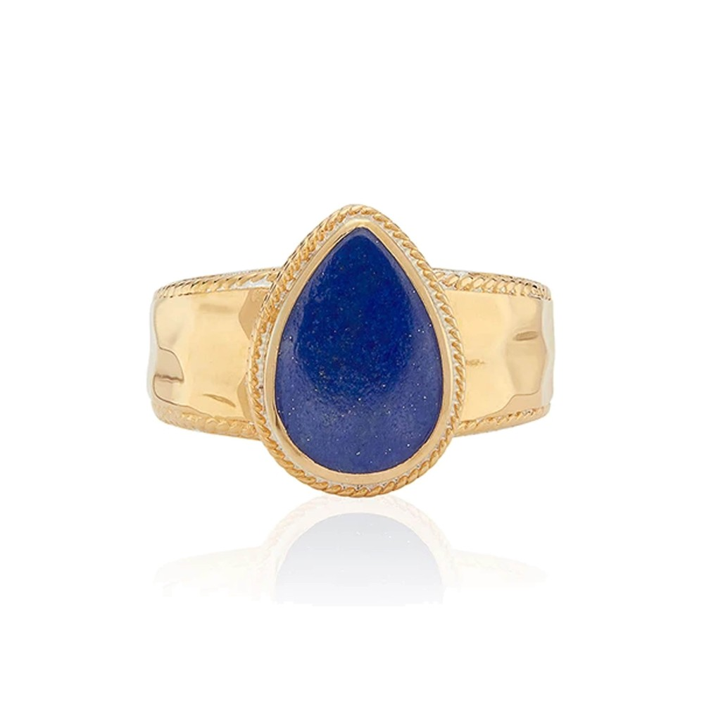 Lapis Hammered Drop Ring - Gold