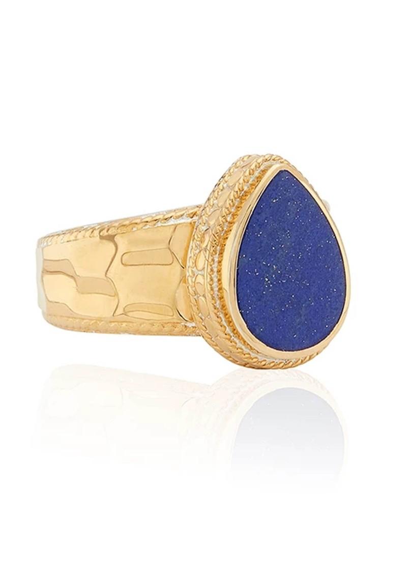 ANNA BECK Lapis Hammered Drop Ring - Gold main image