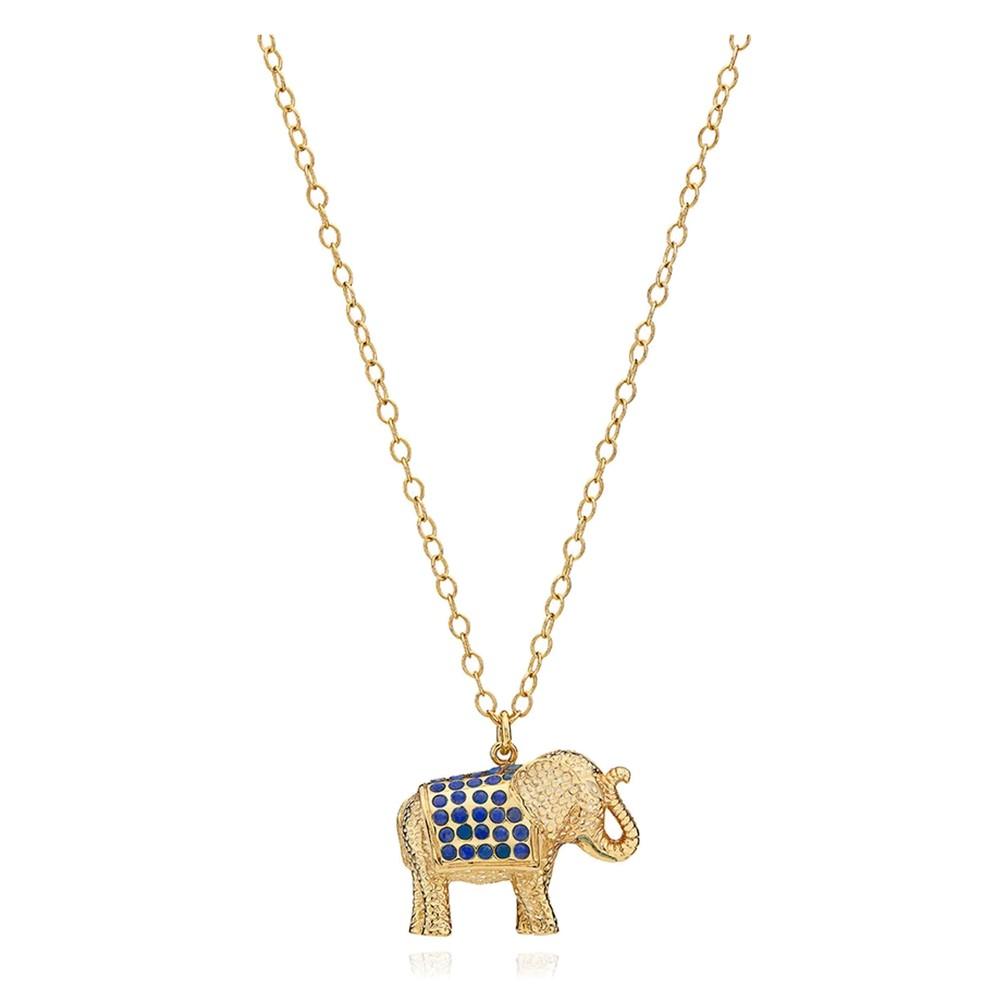 Lapis Pav © Elephant Charity Necklace - Gold