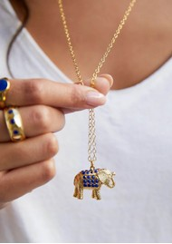 ANNA BECK Lapis Pavé Elephant Charity Necklace - Gold