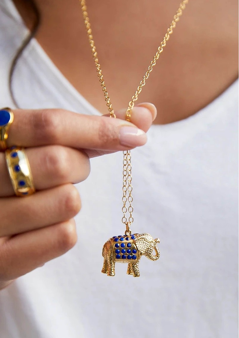 ANNA BECK Lapis Pavé Elephant Charity Necklace - Gold main image