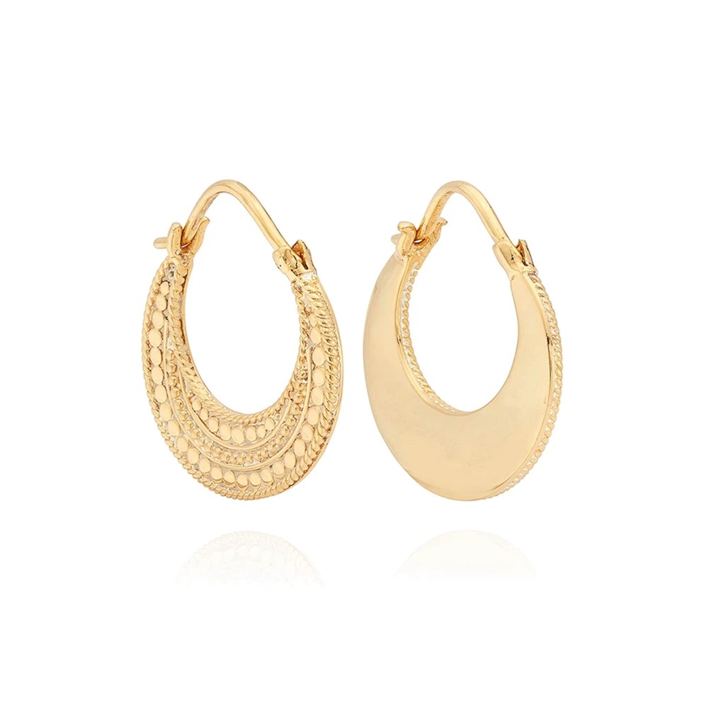 Mother Of Pearl Contrast Dotted Crescent Hoop Earrings - Gold