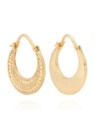 ANNA BECK Mother Of Pearl Contrast Dotted Crescent Hoop Earrings - Gold
