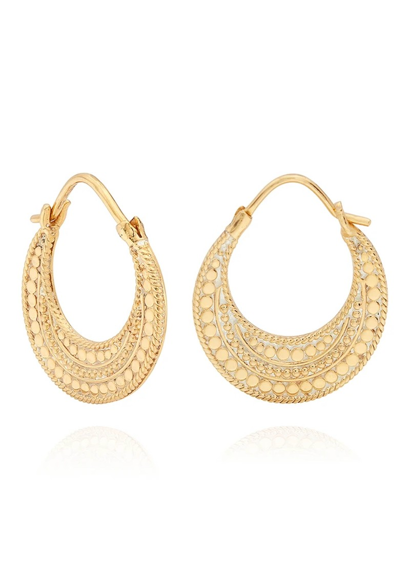 ANNA BECK Mother Of Pearl Contrast Dotted Crescent Hoop Earrings - Gold main image