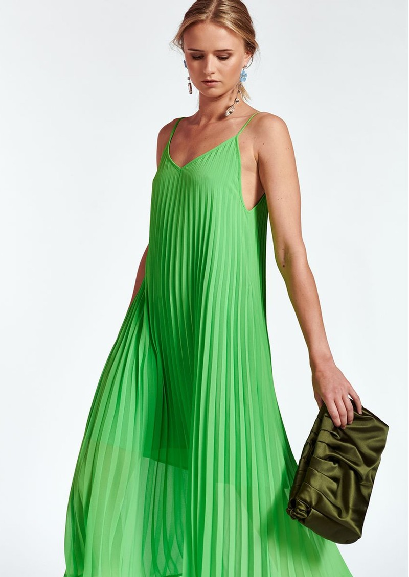 ESSENTIEL ANTWERP Zague Pleated Strappy Dress - Flash Lime main image