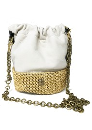 Sous Les Paves Jo Leather & Raphia Bag - Creme & Gold