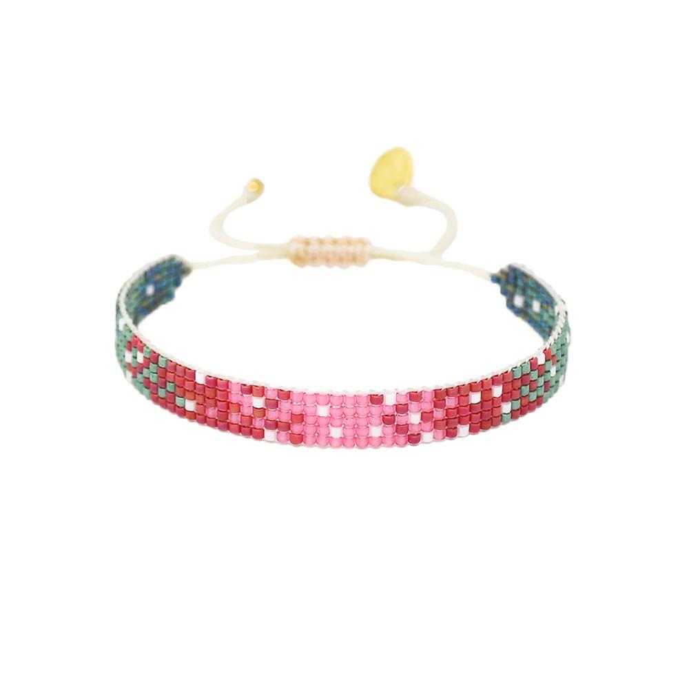 Mystic Heart Beaded Bracelet - Pink, Red & Green
