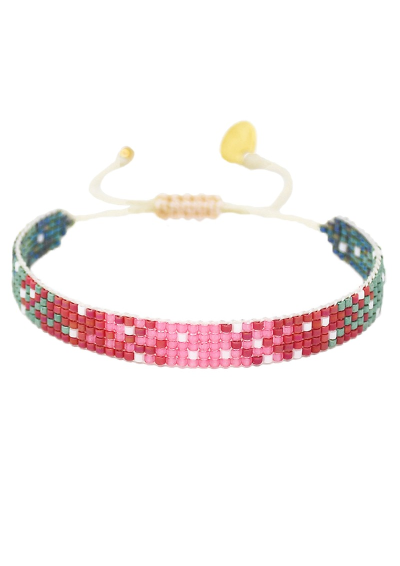 MISHKY Mystic Heart Beaded Bracelet - Pink, Red & Green main image