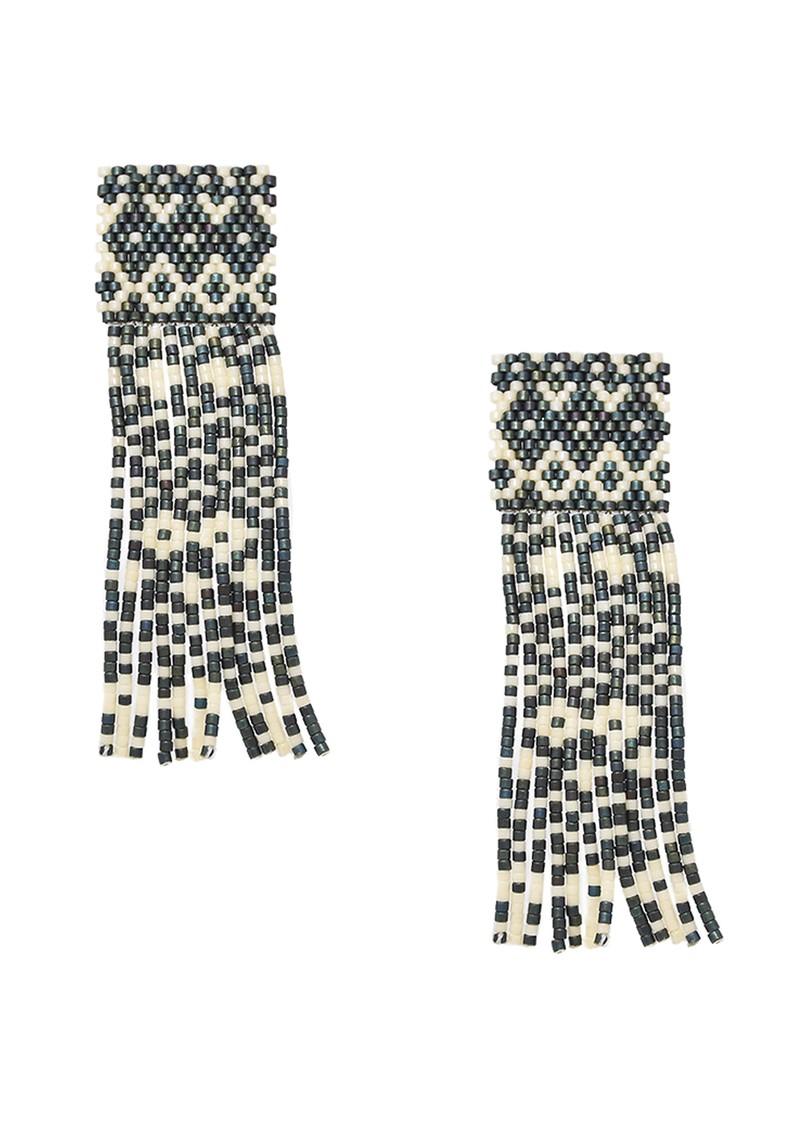 MISHKY Alhambra Beaded Earrings - Black & Cream main image