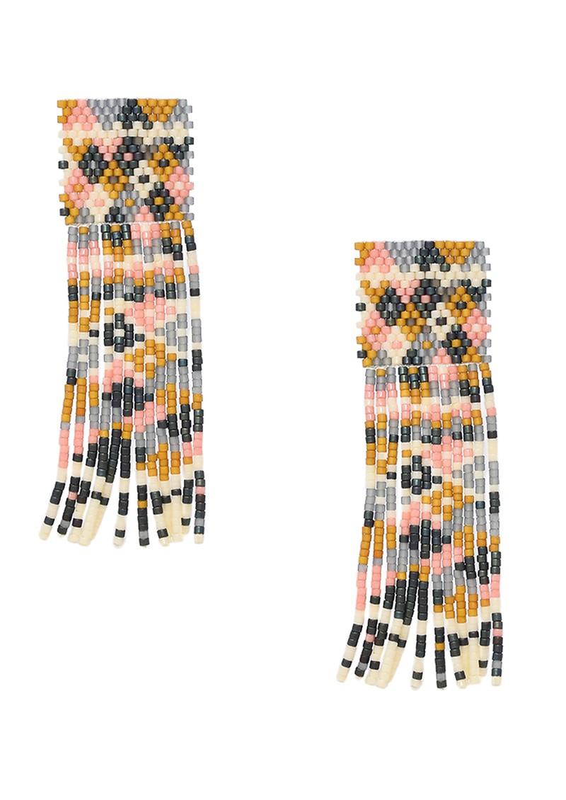 MISHKY Alhambra Beaded Earrings - Pink, Cream & Gold main image