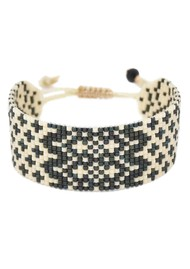 MISHKY Alhambra Beaded Bracelet - Black & Cream