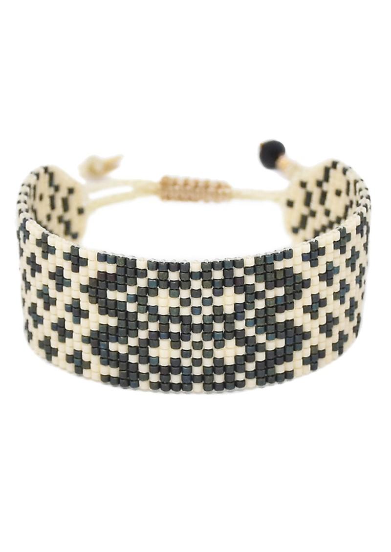 MISHKY Alhambra Beaded Bracelet - Black & Cream main image