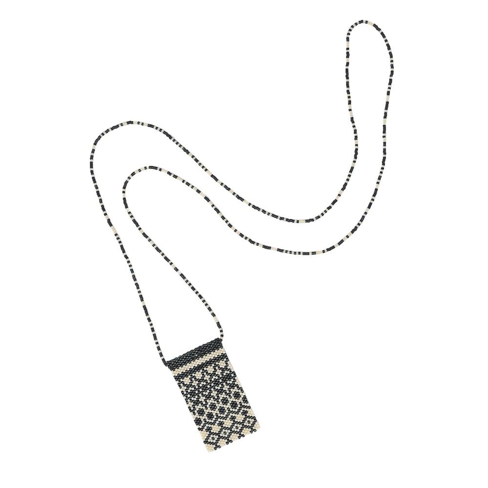 Alhambra Beaded Necklace - Black & Cream