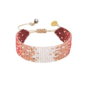 Mystic Heart Beaded Bracelet - Silver, Copper & Red