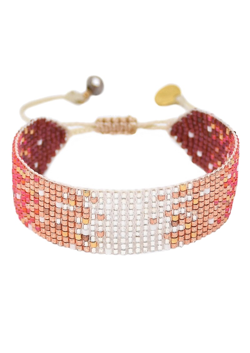 MISHKY Mystic Heart Beaded Bracelet - Silver, Copper & Red main image
